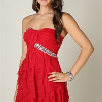 strapless, ruched sweetheart body with stone trim and tendril skirt