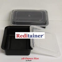 "Reditainer - Rectangular Food Storage Containers With Lids - Microwaveable & Dishwasher Safe (28 Ounce - 6"" x 8""- Package of 12)"