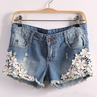 Blue Floral Lace Embroidered Washed Denim Shorts