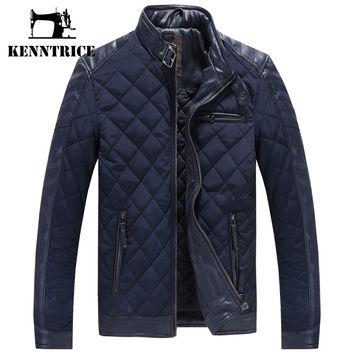 Spring Autum Parkas Men Puffer Jackets Wadded Jackets Men Cotton Padded Coats Leather Coat Coffee Blue