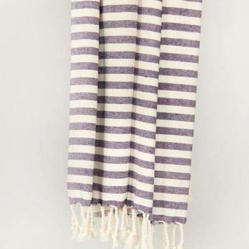 Classic Candy Stripe Turkish Beach Towel, Lavender
