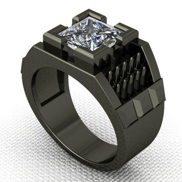 Men's Gothic Spike Ring in Silver with Black Platinum Over