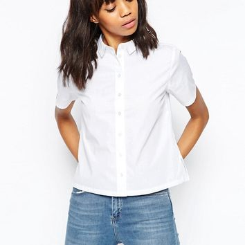 ASOS Boxy White Shirt with Short Sleeve at asos.com