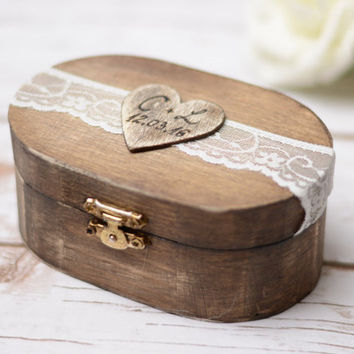 Wedding Ring Box Love Sign Box Rustic Ring Holder Bearer Wooden Box