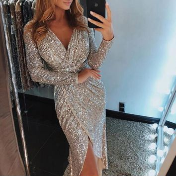 Fall Fashion 2XL Sexy V-neck High Slit Party Dress Women Glitter Sequined Bodycon Dress Long Sleeve Midi Tunic Dress Vestidos