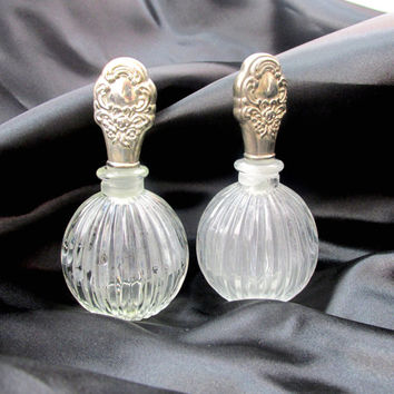 Perfume Bottle Set Of Two Cut Glass With Ornate Silver Plated Daubers Art Nouveau With Original Boxes Vintage Collectible Gift Item 2151