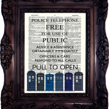 Dr Who Quote. Tardis print on vintage book page. 11. doctor. Dictionary Art Print. Police box Dictionary art. Code:536