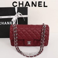 HCXX 19July 010 Fashion Chain Oblique Bag Flap Bag 25-15-7.5 dark red sliver