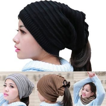 PEAPUNT Fashion Men Women Kniting Hat Winter 2 Function Usage Cap Scarf Solid Color C242