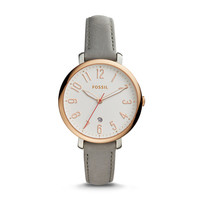 Jacqueline Three-Hand Date Gray Leather Watch