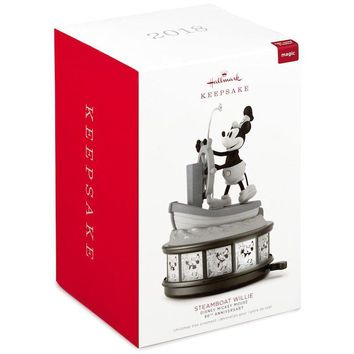 Disney Hallmark Keepsake 2018 90th Mickey Steamboat Musical Ornament New w Box