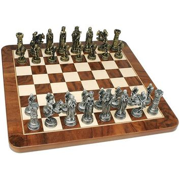 WE Games Medieval Chess Set - Pewter Pieces & Walnut Root Board 17 in.