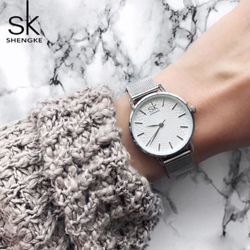 Shengke Luxury Women Watches Women Wristwatches Ladies Bracelet Watch Quartz Watch Silver Stainless Steel Watch Relogio Feminino