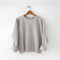 vintage cropped sweater. boxy sweater. oatmeal - taupe sweater