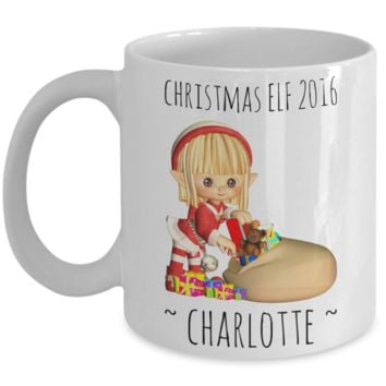 Elf Charlotte Mug Holidays, Birthday, Girls, Boys Gift for Him & Her - Inspirational Santa Humor & Personalized Name Cup - Christmas Elf 2016 Cup For Hot Cocoa, Coffee & Tea