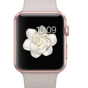 Apple Watch 42mm Rose Gold Aluminum Case with Stone Sport Band (Certified Refurbished)