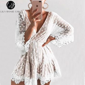 Lily Rosie Girl Lace Dot Pink Women Mini Dresses 2018 Summer Sexy V Neck Party Beach Mesh Dress Backless Flare Sleeve Vestidos