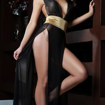 Gold Waist Wrap V-Neck Long Dress Lingerie