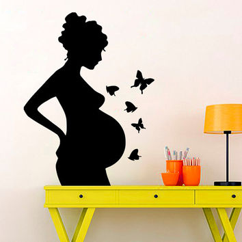 Pregnant Woman Wall Decal Pregnancy Stickers Butterfly Decal Vinyl Decals Fashion Art Murals Home Boho Interior Design Nursery Decor KI131