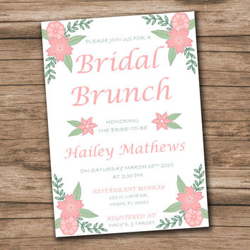 Bridal Shower Invitation Template - Download Instantly - Bridal Shower Printable - Bridal Brunch Invite - Editable Text-Microsoft Word