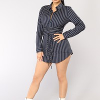 Well Suited Striped Shirt Dress - Navy