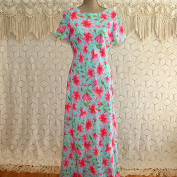 90s Maxi Dress Long Floral Dress Floor Length Short Sleeve Spring Dress Medium Aqua Pink Garden Party 1990s Vintage Clothing Womens Clothing