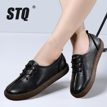 STQ 2017 Autumn women sneakers lace-up flats shoes creepers shoes ladies black leather