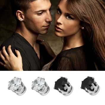 1Pair Men Women Crystal Magnet Earrings Ear Stud Jewelry