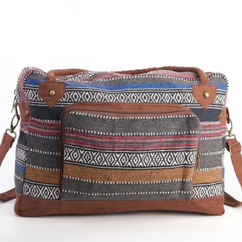 Mexican One-night bag, Weekender Bag, Boho Hippie Large Shoulder Bag, Travel Bag