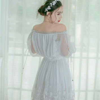 Butterfly Embroidery Summer Dress Women Vintage Chiffon White Lace Dress Slash Neck Maxi Dress 2017 Self Portrait
