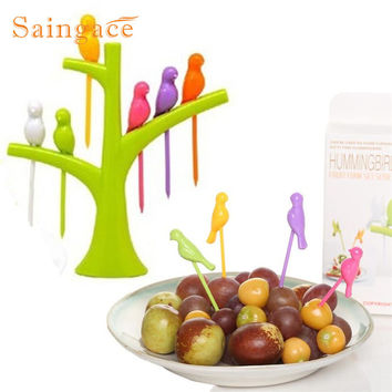 Saingace Birdie Fruit Fork Birds On The Tree Dessert Cake Dinnerware Party Cocktail
