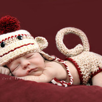 Boy Sock Monkey Earflap Hat by britt6934 on Etsy