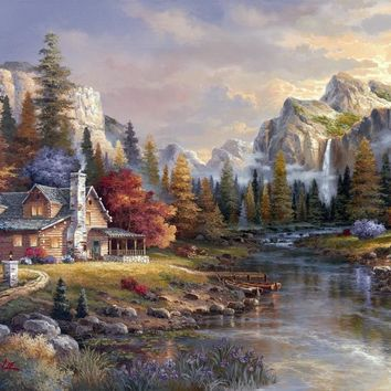 For Embroidery Mountain Flowing water House Forest Needlework 14CT Unprinted DMC DIY Cross Stitch Kits Handmade Arts Wall Decor