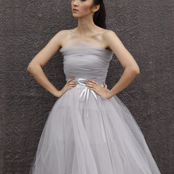 Tulle Skirt Tea length Tutu Skirt Elastic Waist tulle tutu Princess Skirt Wedding Skirt in Light Grey - NC508