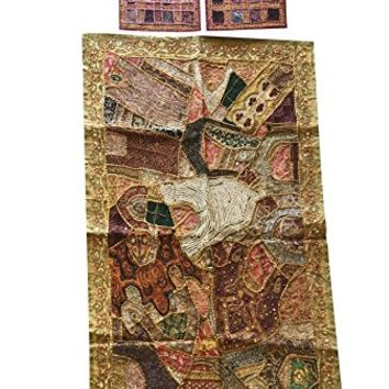 Mogul Interior Bohemian Vintage Beaded Tapestry With Cushion Cover Patchwork Banjara Wall Hanging Table Throw