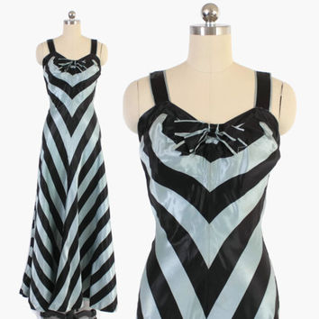 Vintage 30s EVENING GOWN / 1930s Pale Blue & Black Satin Chevron Party Dress XS - S