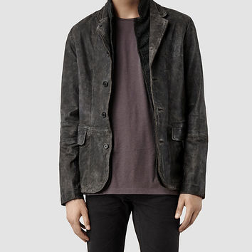 Mens Survey Leather Blazer (Anthracite) | ALLSAINTS.com