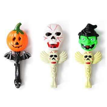 Halloween Gift Funny Scary LED Fluorescent Torch Lamp Skull Pumpkin Witch Head Wand Light for Kids Party Carnival Prop