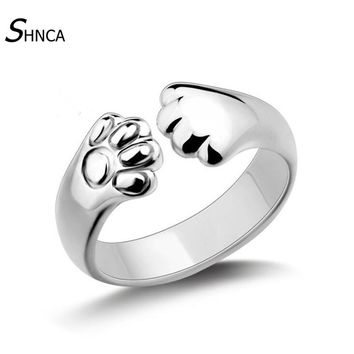 New Fashion Cute Sweet Anime Animal Ring Jewelry 925 Sterling Silver Cat Paw Kitty Foot  Open Rings For Women Bague Femme R095