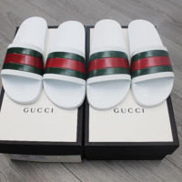 White Gucci Slides