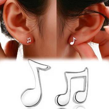 Trendy Lovely Musical Note Shaped Silver Plated Woamn Earrings Charming Jewelry Accessories EAR-0511