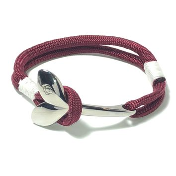 Burgundy Nautical Whale Tail Bracelet Stainless Steel 022