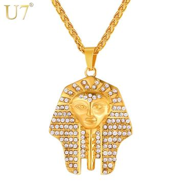 U7 Full Crystal Egypt Pharaoh Head Pendant Necklace Men/Women Jewelry Classic Ancient Egyptian Ornaments Necklaces P1125