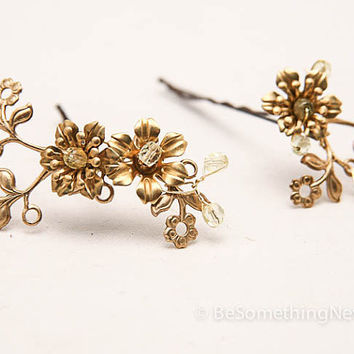 Vintage flower bobbie pins, brass and gold