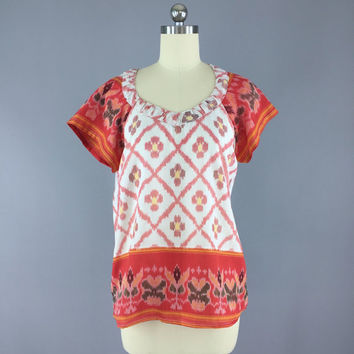 Indian Cotton T-Shirt Blouse / Vintage Indian Sari / Indian Cotton Blouse / Red White Ikat / Size S Small 9000963