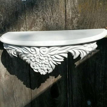 White Hanging Shelf Ornate Carved Resin Vintage Shabby Chic Wall Art Wall Shelves Display Piece Painted Furniture Home Decor Knick Knacks