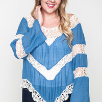 Cameron Floral Knit Top XL to 1XL: Blue