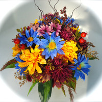 Summer or Fall Floral Centerpiece in Brown Ceramic Bowl - Yellow, Blue, Burgundy Flowers, Fall Centerpiece,Autumn Centerpiece, Summer Floral