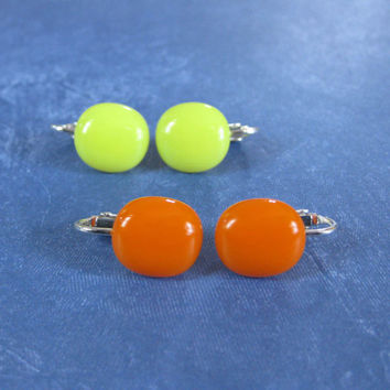 Two Pair Clip On Earrings, Orange Clip On Earrings, Yellow, Non Pierced Earrings - Sunshine Set -  2017 - 1