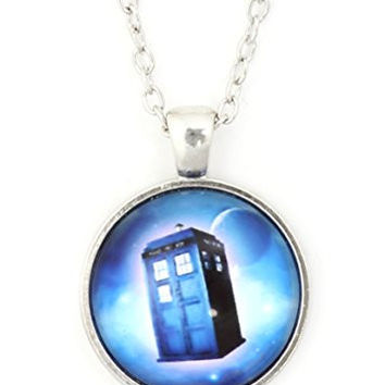 Police Box Necklace Blue Silver Tone NU63 Time Space Art Dome Pendant Fashion Jewelry